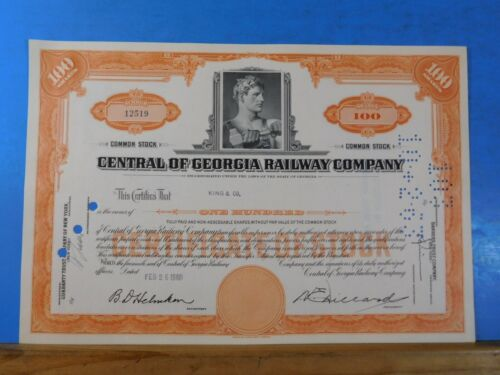 Stock certificate Central of Georgia Railway Company #12519 100 shares of common