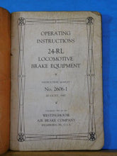 Locomotive Brake 24-RL Equipment Operating Instructions 1947 SC #2606-1