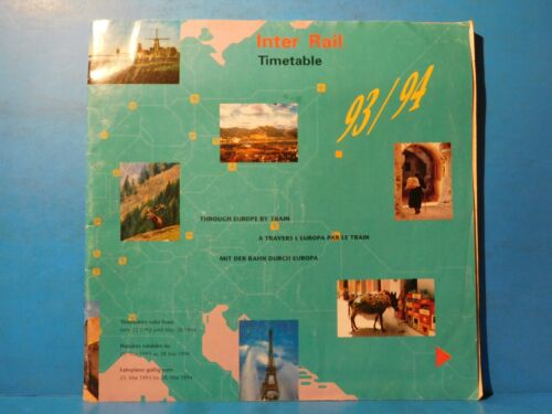 Inter Rail Timetable 1993 1994 Through Europe by Train Soft Cover 96 Pages