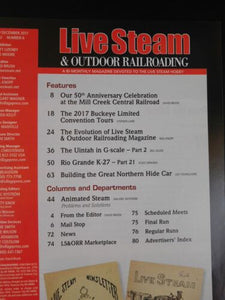 Live Steam Magazine 2017 November December & Outdoor Railroading Mill Creek Cen