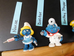 Smurfs Lot of (12) PVC Vintage Figure Sunbather Doc Nurse Hockey Cyclist +