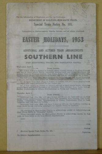 Southern Line New South Wales Special Train Notice #181 1953 Easter Holidays