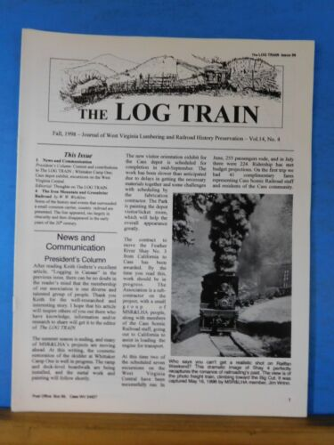 Log Train Magazine V14 #4 1998 Whittaker Camp One