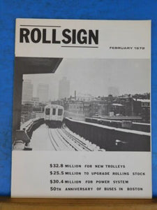 Rollsign Magazine of New England Transit News 1972 Feb 50th anniv Boston Buses