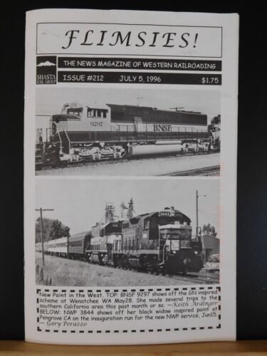 Flimsies West Issue #212 July 5, 1996 News Magazine of Western Railroading
