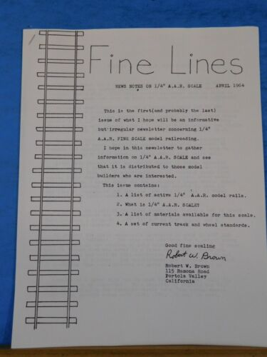 Finelines 1/4' scale Fine Lines Magazine 1964 April 1/4 inch AAR Standards