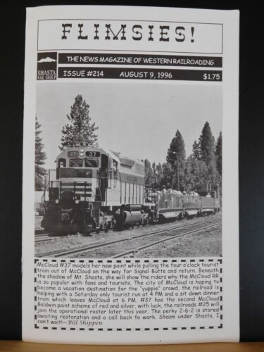 Flimsies West Issue #214 August 9, 1996 News Magazine of Western Railroading