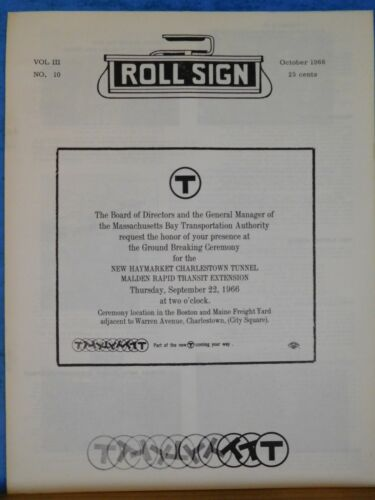 Rollsign Magazine of New England Transit News 1966 October New Haymaket Charlest