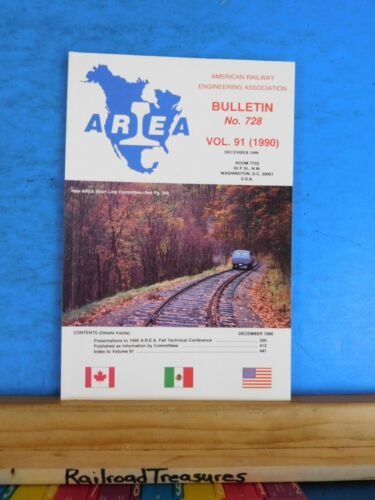 American Railway Engineering Association Bulletin 728 December 1990 Vol 91 AREA