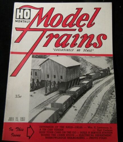 HO Monthly Model Trains 1951 July HO scale Tin can tender Service station