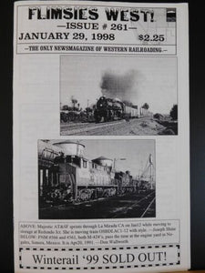 Flimsies West Issue #261 January 29, 1998 News Magazine of Western Railroading