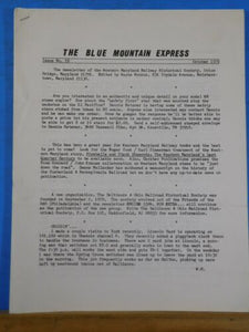 Blue Mountain Express #18 1979 October Western Maryland Historical Society