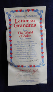 The World of Zolan Letter to Grandma by Donald Zolan