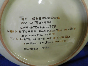 The Shepherds by V. Tiziano Hand Etched Italian Collectible Plate Veneto Flair