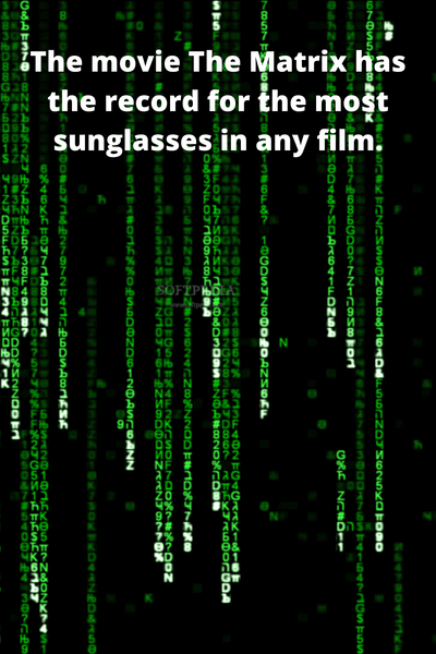 The matrix movie holds the record for the most sunglasses in a film