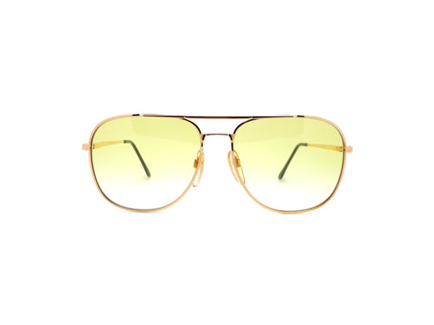 Vintage Gold Aviator with Yellow Lenses Haute Couture 8307 1 Sunglasses 80s