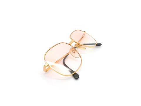 Haute Couture 1980s Square Gold Sunglasses with Peach Gradient Tints
