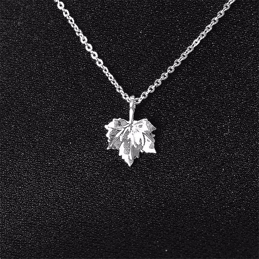 earrings sweater plating silver chain leaf pendant jewelry necklace new set maple retro ancient alloy