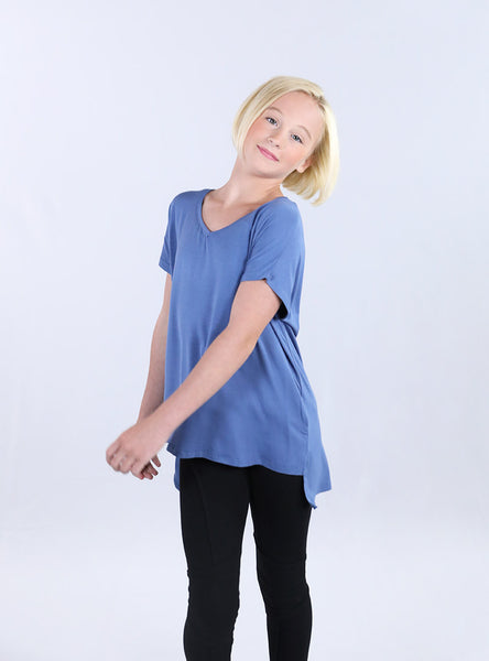 Oversized V-Neck Tee | Stone Blue
