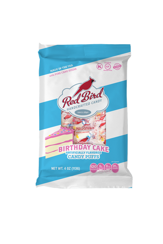 12ct-4oz Red Bird Birthday Cake Candy Puffs Bags
