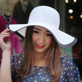 Chic Wide Brim Color Block Stripy Folding Straw Hat For Women