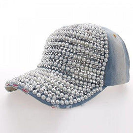 Chic Faux Pearls and Rhinestones Embellished Baseball Cap For Women