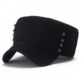Chic Rivets Embellished Solid Color Military Hat For Women