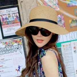Cool Summer Chic Black Bowknot Lace-Up Panama Straw Hat For Women