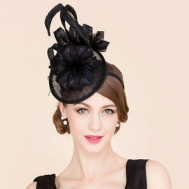 Elegant Feathered Flower Charming Fascinator Banquet Party Black Cocktails Hat