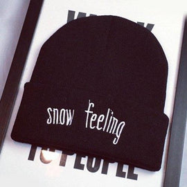 Stylish Warm Letters Embroidery Flanging Elastic Knitted Beanie For Women