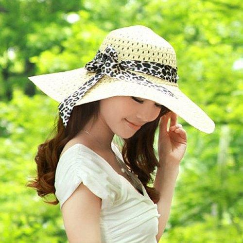 Bowknot Openwork Broad Brimmed Straw Fedora Hat