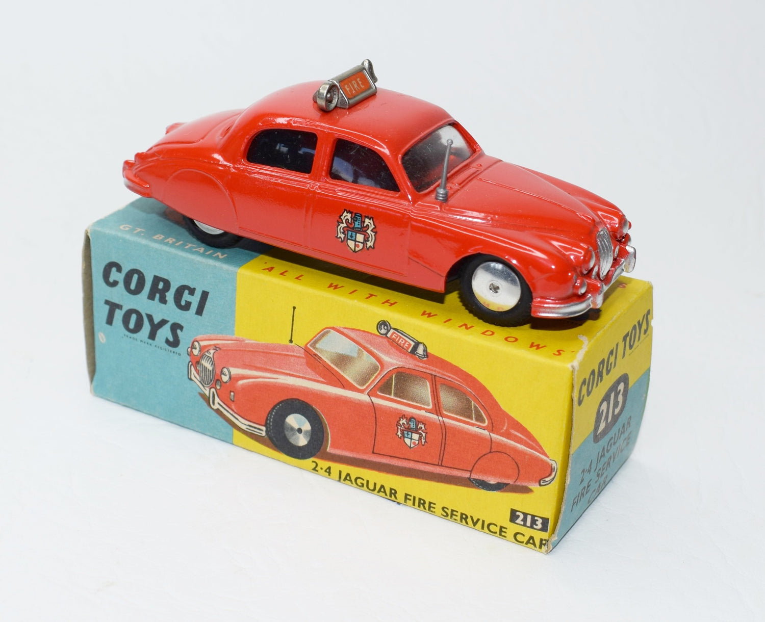 Corgi toys 213 2.4 Jaguar Fire Car Very Near Mint/Boxed (C.C).