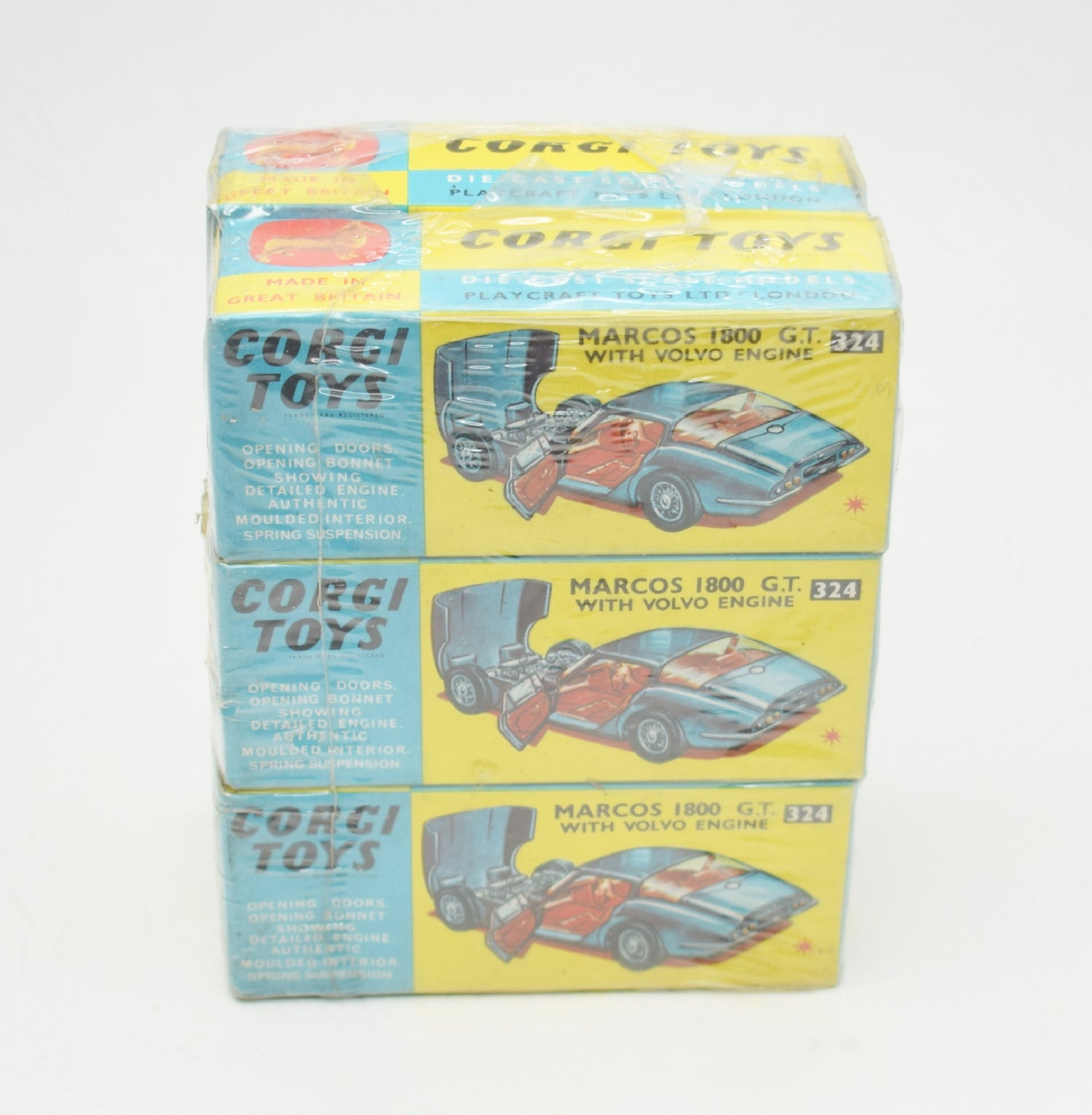 Corgi toys 324 Marcos 1800 Trade wrap of 6 (Old Shop Stock from Ripon North Yorkshire)