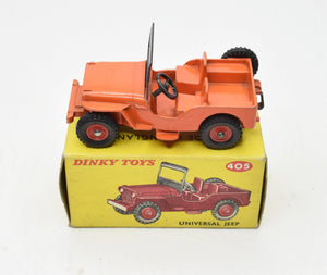 Dinky toys 405 Universal Jeep Very Near Mint/Boxed (Orange with red plastic hubs)