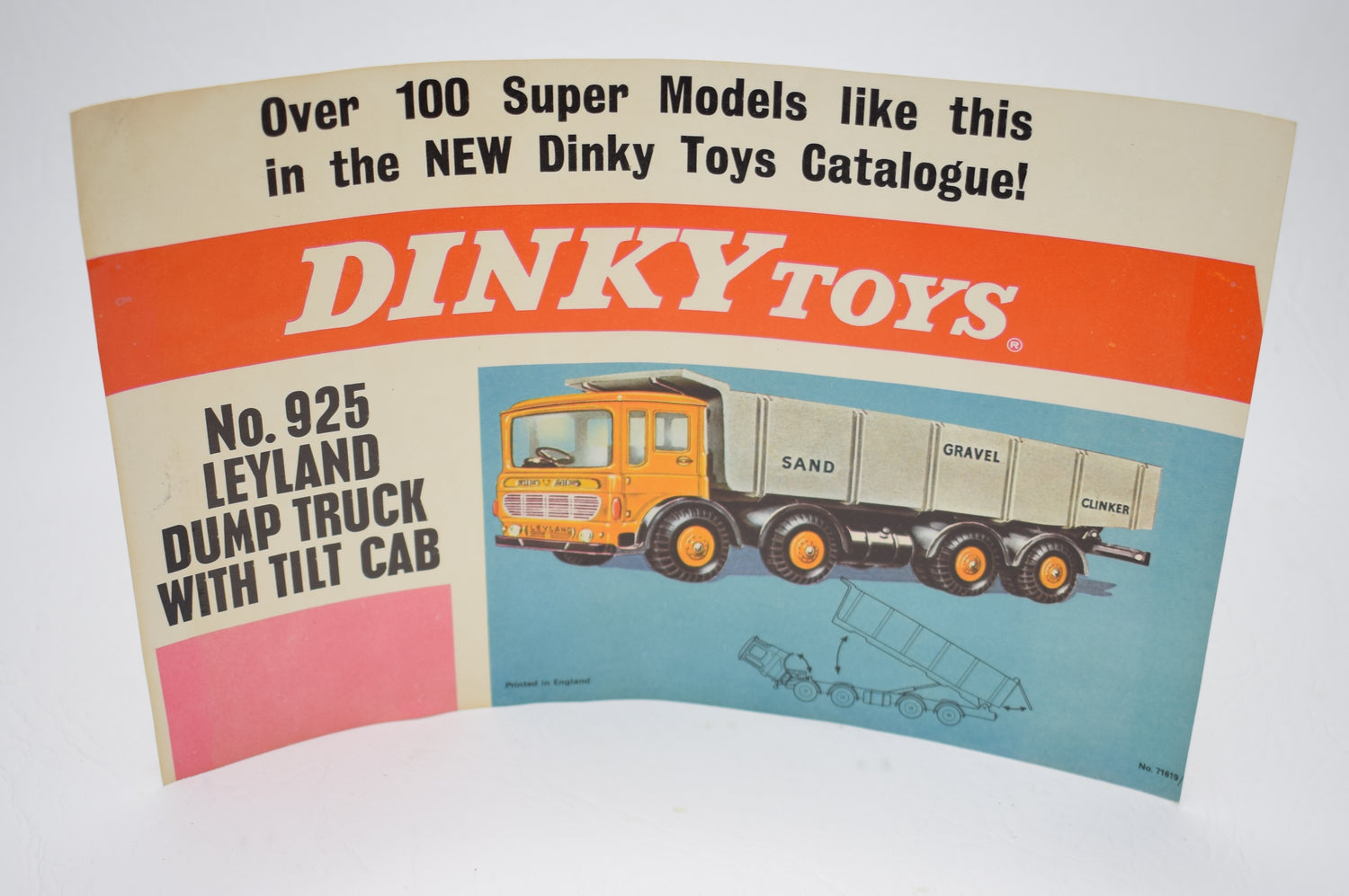 Dinky 925 Leyland Dump Truck Promotioal shop display flyer/poster.