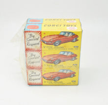 Corgi toys 307 E-type Trade wrap of 6 (3 x maroon & 3 x graphite)