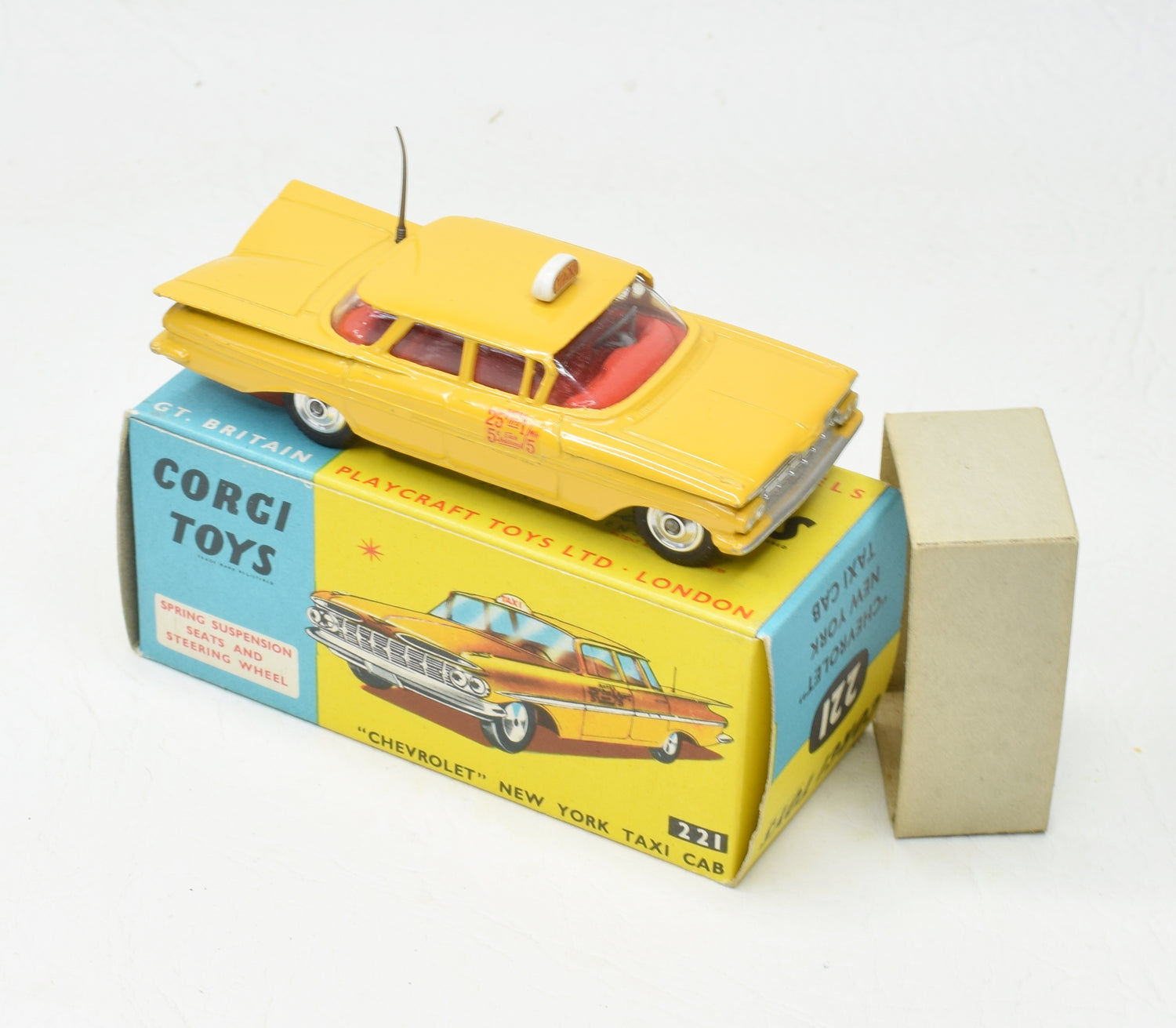 Corgi toys 221 'Chevrolet' New York Taxi Very Near Mint/Boxed The Geneva' Collection