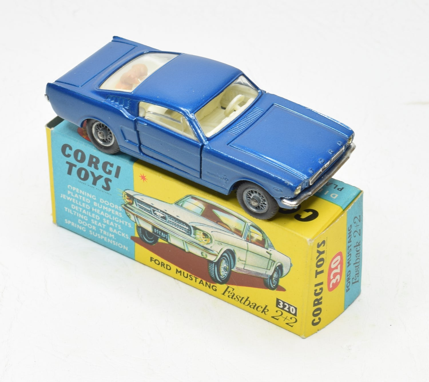 Corgi toys 320 Ford Mustang 2+2 Very Near mint/Boxed