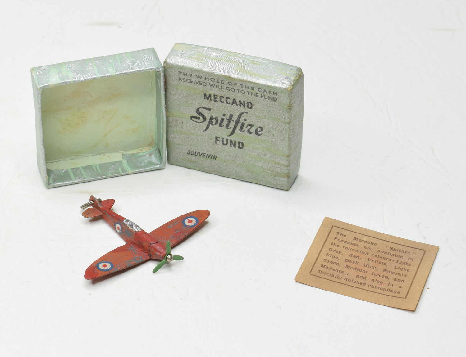 Dinky Meccano 62a Spitfire Fund Souvenir Pendant Near Mint/Boxed 1940/41