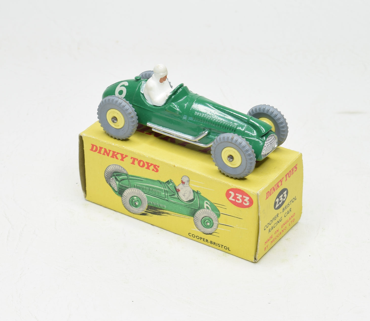 Dinky Toys 233 Cooper-Bristol Virtually Mint/Boxed (Incredibly rare hubs)
