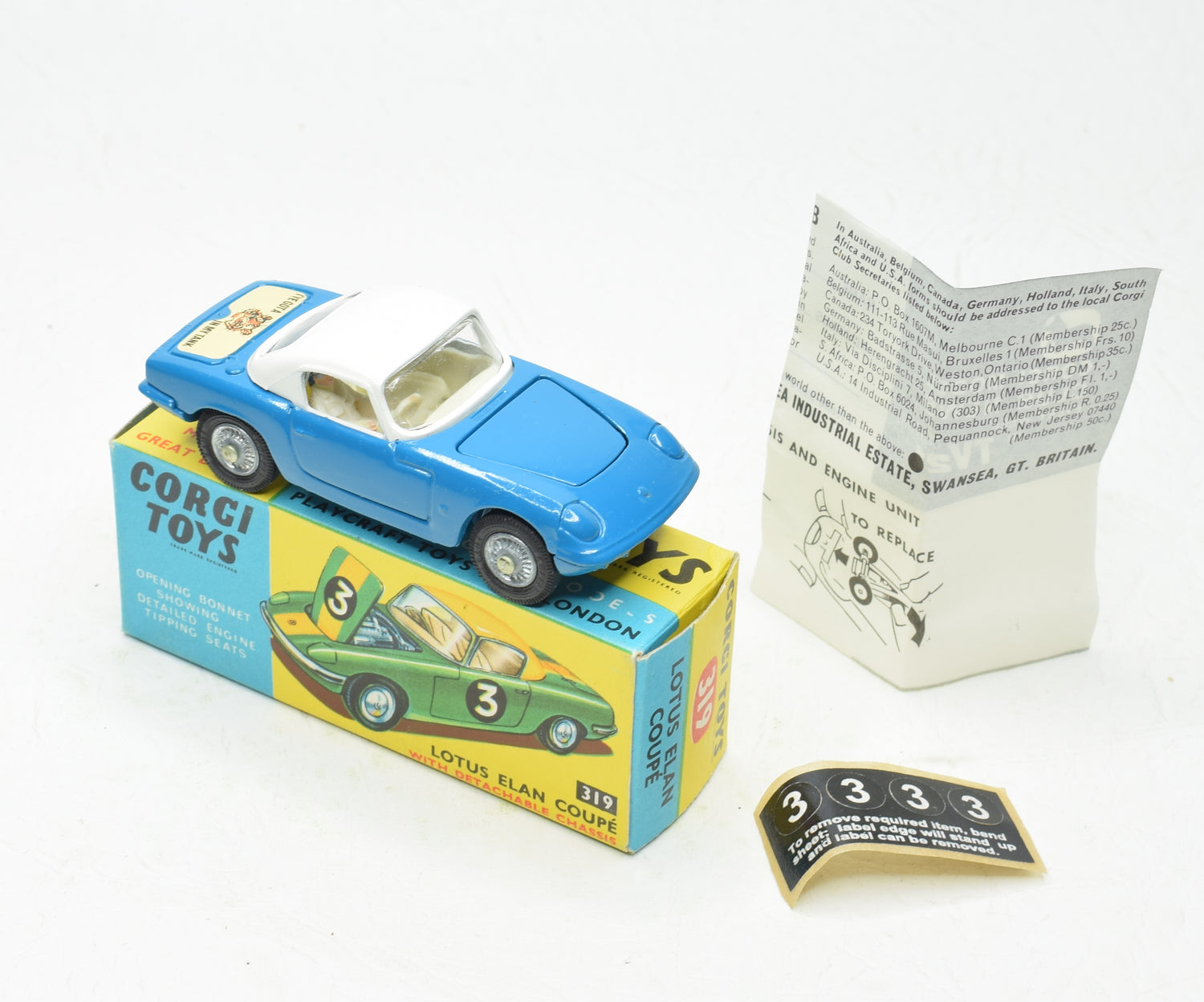 Corgi Toys 319 Lotus Elan Virtually Mint/Boxed 'Tiger in your Tank' 'Wickham' Collection