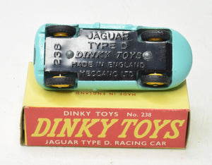 Dinky Toys 238 D type Jaguar Virtually Mint/Boxed (Yellow Plastic hubs)