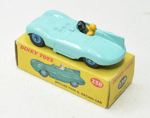 Dinky Toys 238 D type Jaguar Very Near Mint/Boxed (Blue Plastic hubs)