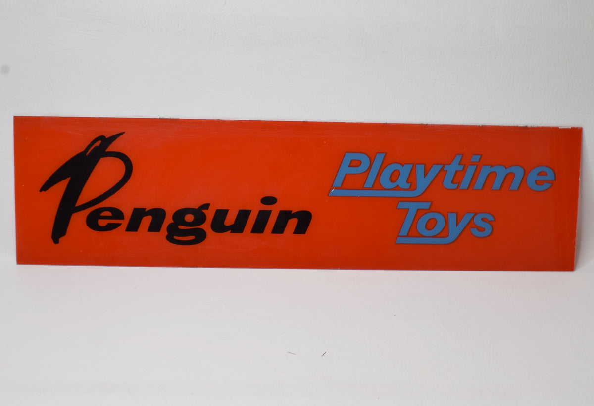 Tri-ang Penguin toys glass shop display sign Very Near Mint Point of Sale