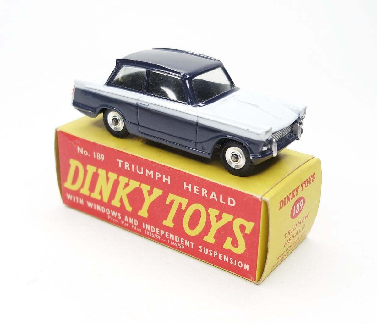 .Dinky Toys 189 Triumph Herald 'Promotional'  Very Near Mint/Boxed (Monaco blue & White) (C.C).