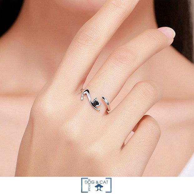 BAGUE ARGENT AVEC CHAT AJUSTABLE - MISTY - Dog & Cat Boutique