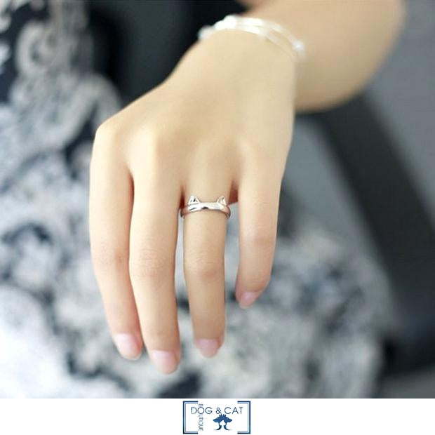BAGUE ARGENT AVEC CHAT - KITTY - Dog & Cat Boutique