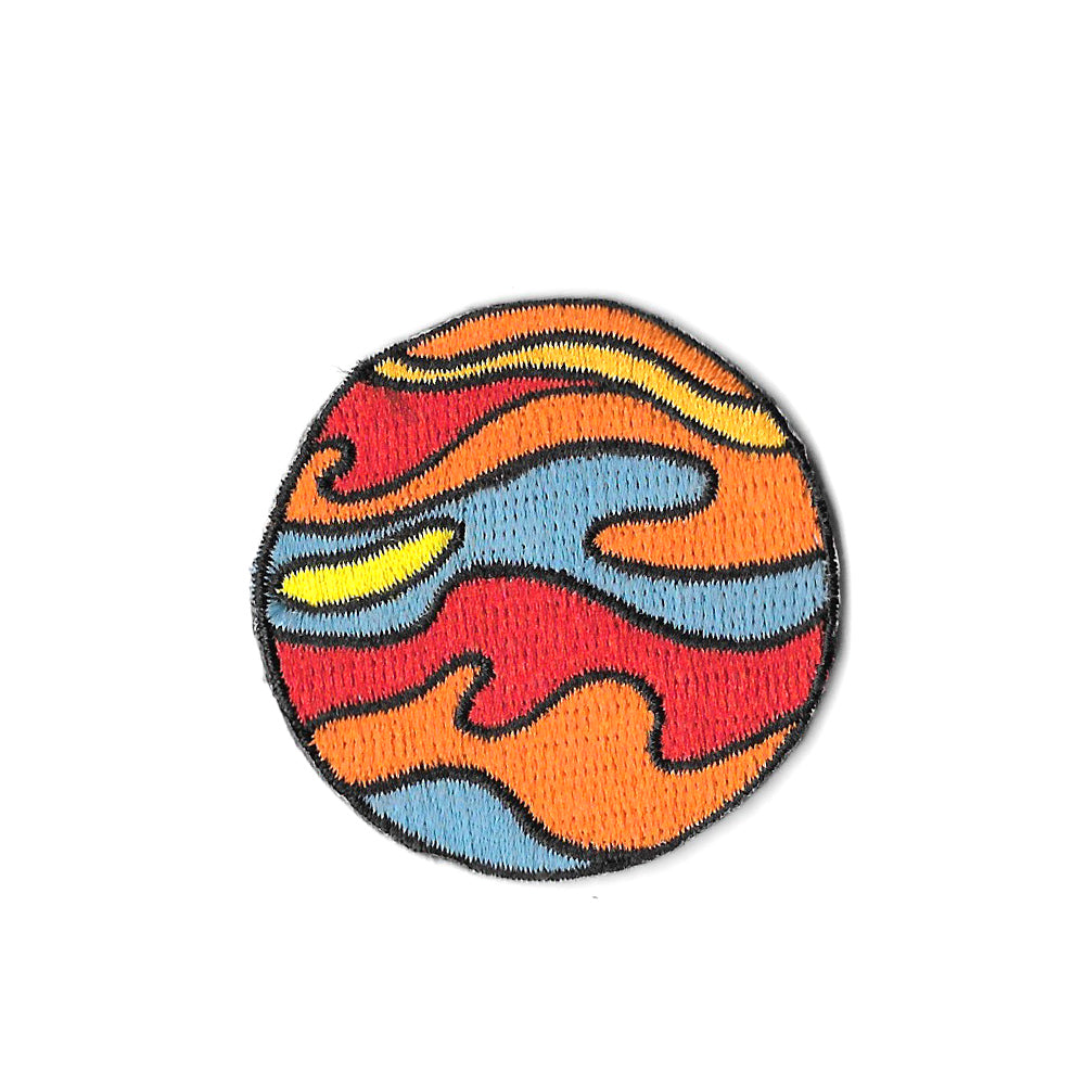 Orange Planet Iron On Patch