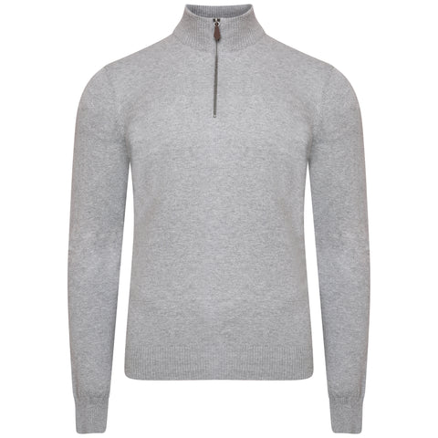 Grey Marl Knitted Quarter Zip