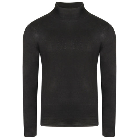 Black Cable Knit Roll Neck 100% Luxury Combed Cotton